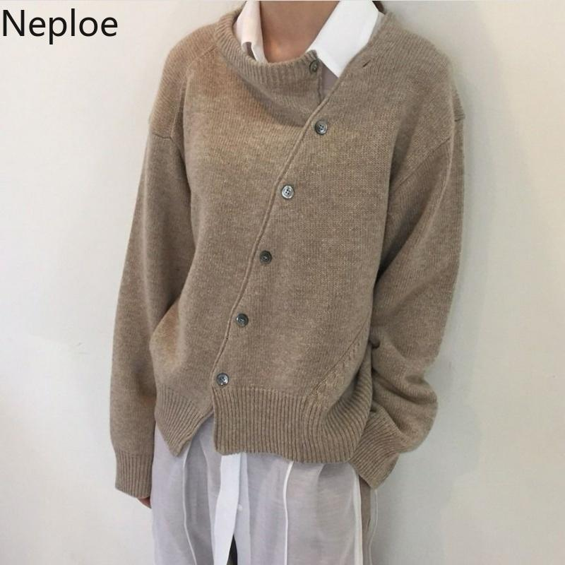 Neploe Moda Outono Irregular Knit Cardigan Mulheres 2019 Breve Sólidos Brasão Knitwear Office Lady camisola de manga longa Jacket 54658 Y191025