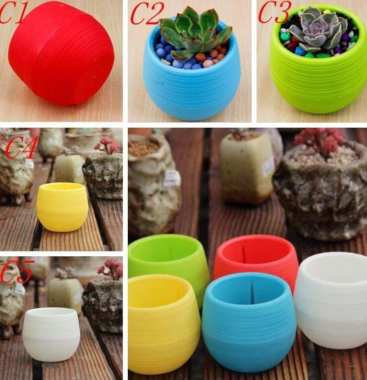 7*7см мини цветочные горшки многоцветные круглые пластиковые плантаторы утечка воды мотыга дизайн суккулентные растения сад горшок горячая продажа DHL бесплатно