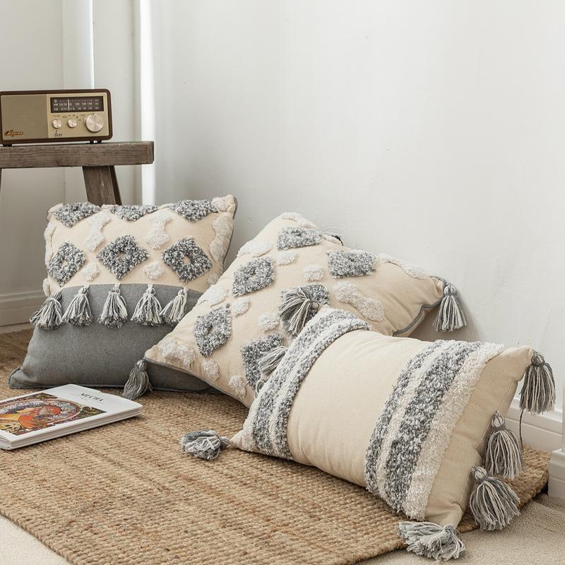 30x50cm / 45x45cm style marocain Coton Lin Coussin brodé Couverture géométrique capitonné Glands main Taie d'oreiller Home Decor