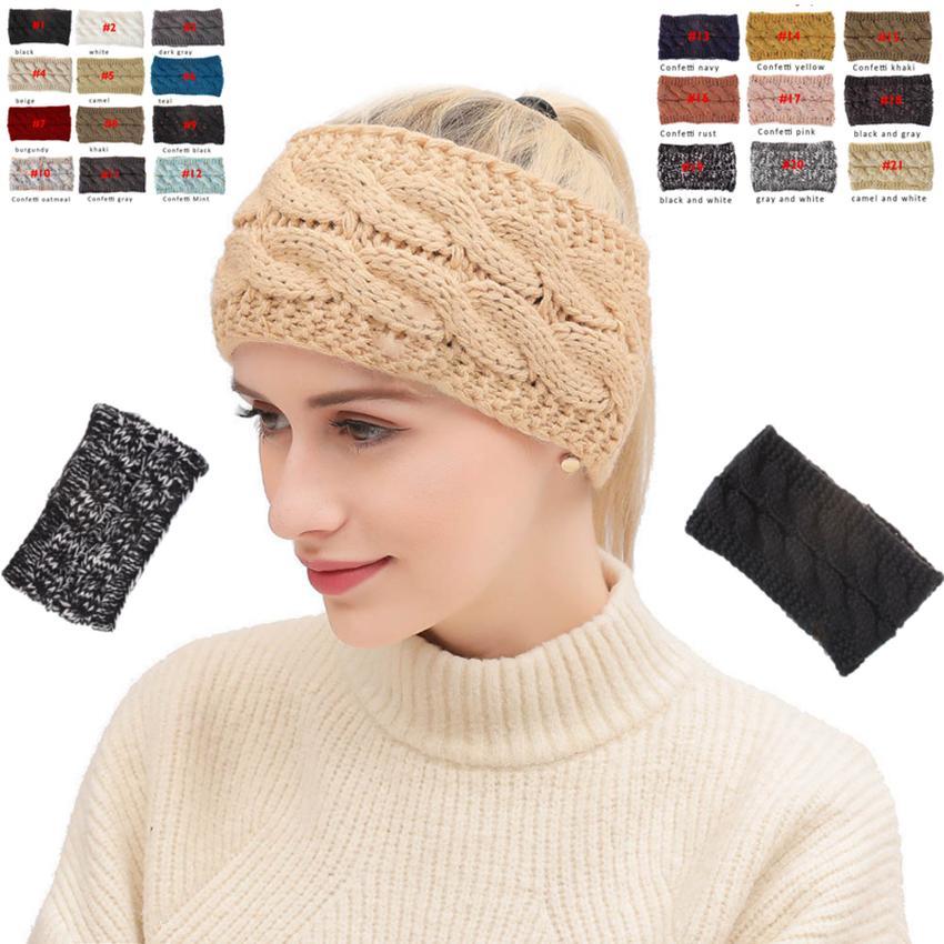 Tricoté Bandeau 20 Couleurs Hiver Hiver Chaud Head Wrap Hairband Acrylique Crochet De Mode Bande De Cheveux Beanie Accessoires OOA7144