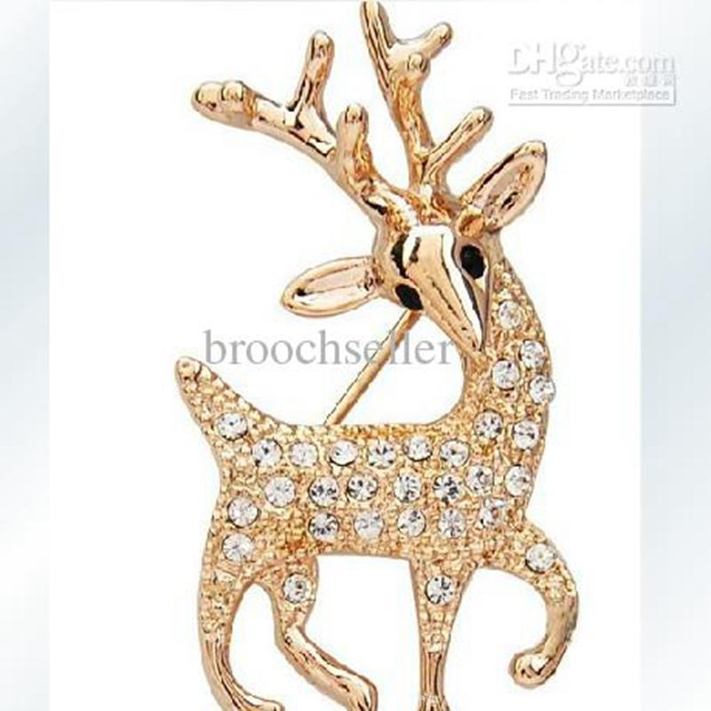 Broche de oro plateado Rhinestone claro Reno de Navidad Broche regalo