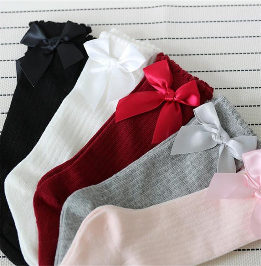 News Girls Princess Ribbon Bows Socks Cute Newborn Toddlers Infant Big Bow Knee High Long Stockings Kids Cotton Lace Ruffle Baby Socks E3602