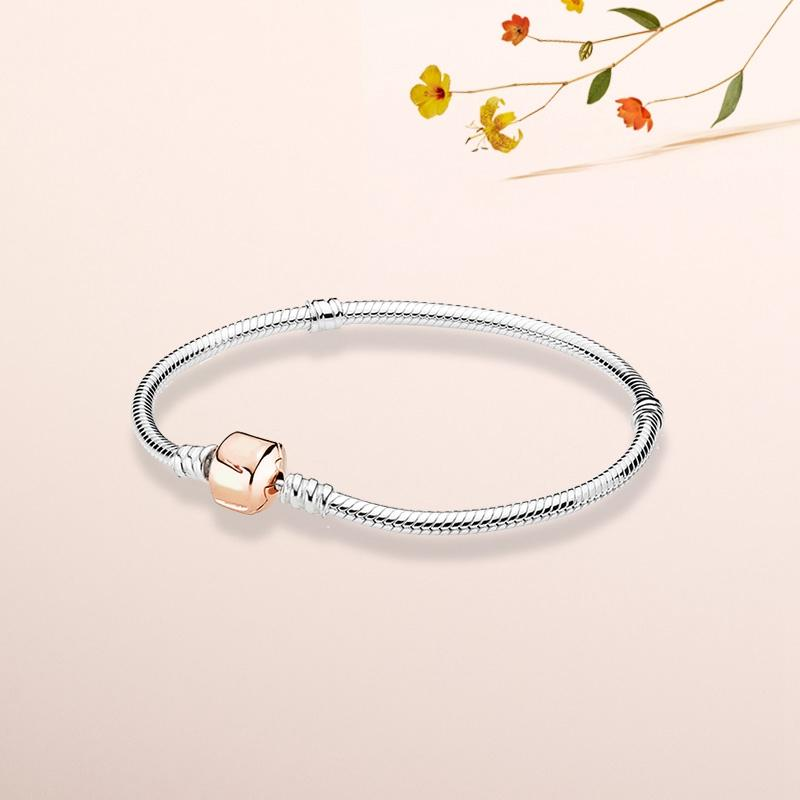 Wholesale-European Bead Snake Bone Chain for Pandora 925 Sterling Silver Plated Rose Gold Women's Accessories Bracelet with Original Box