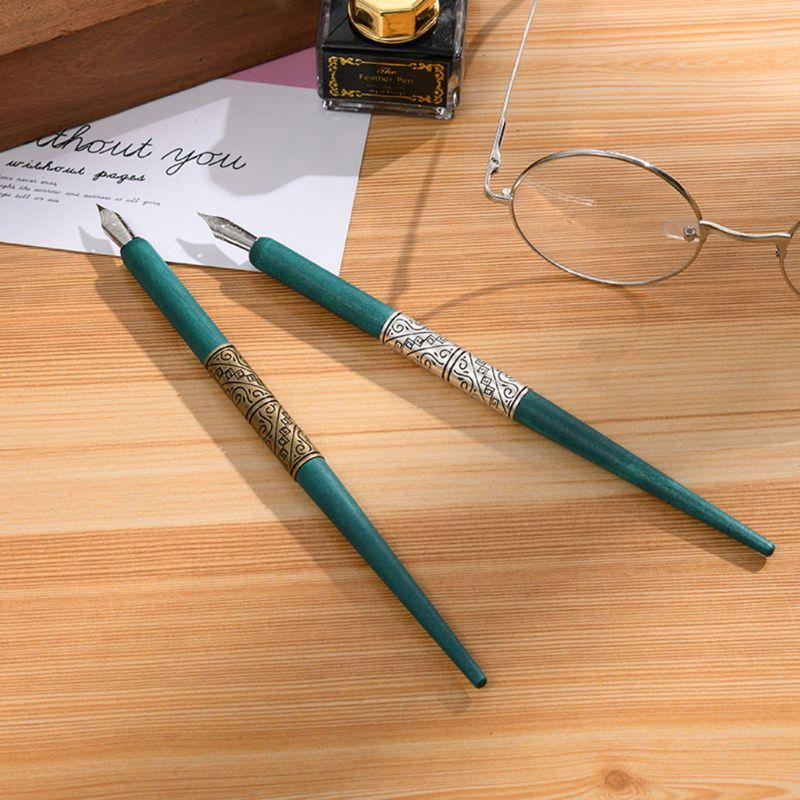 Wood Manga Calligraphy Dip Pen Holder with 6 Nibs for Lettering Skiching Drawing