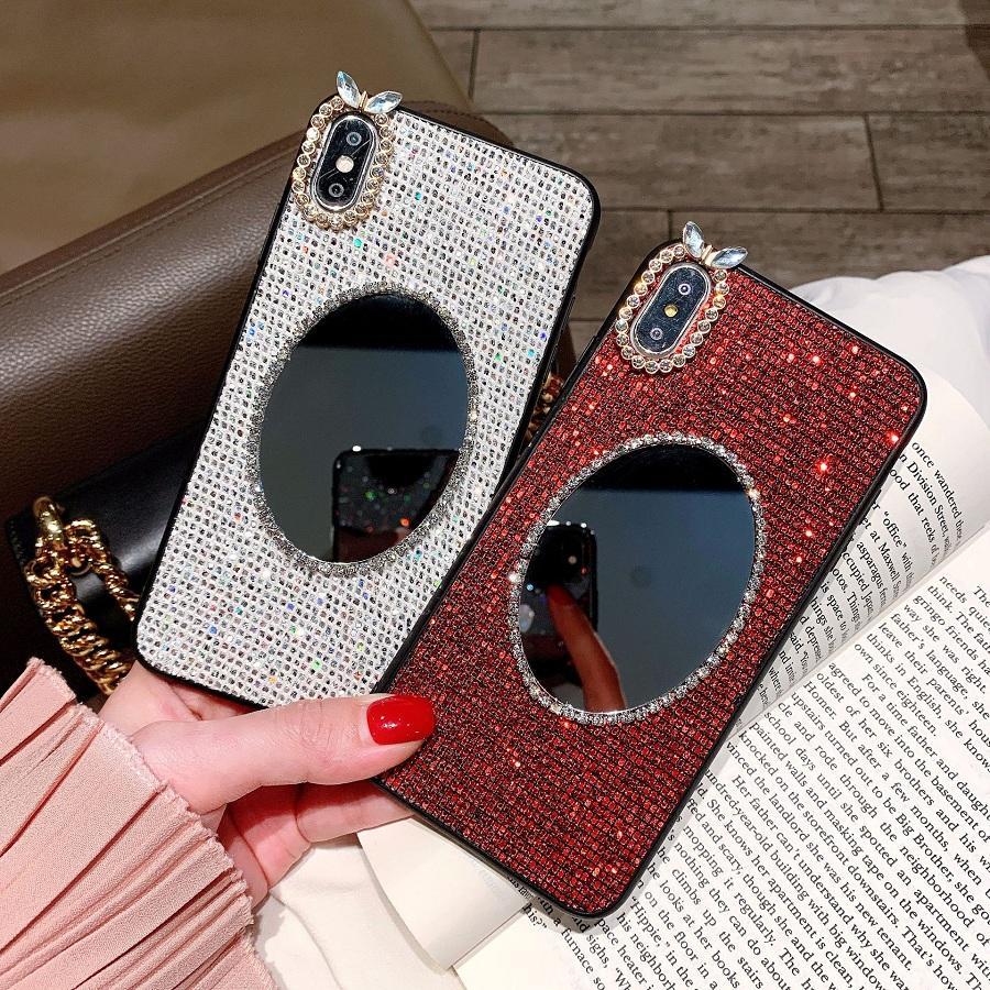 La manera compone la caja del espejo para el iphone 11 Pro 6 7 8 + X XR XS MAX diamante hecho a mano de teléfono Coque para señora Girl