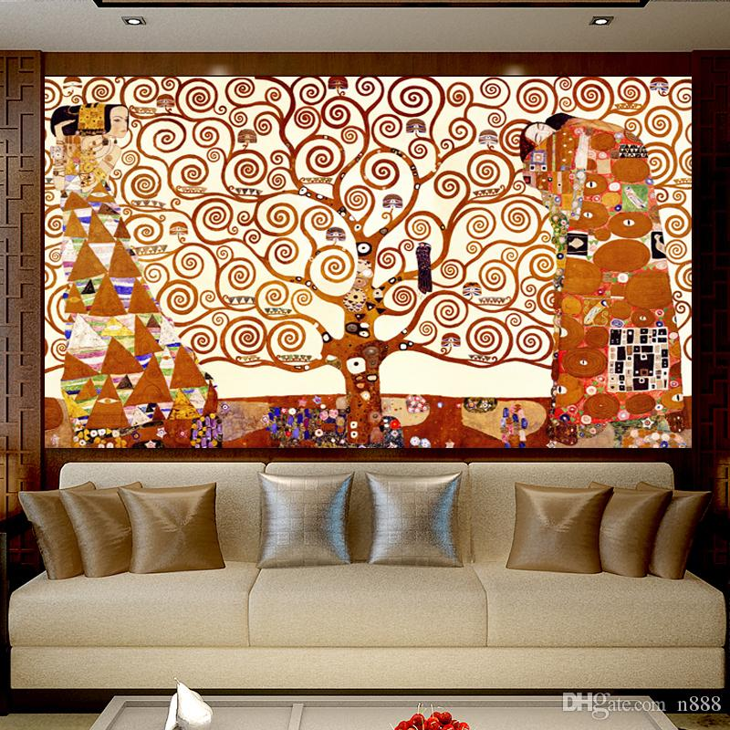 Gustav Klimt Tree of Life Canvas Painting Wall Art Picture Classical Abstract Oil Paintings on canvas For Living Room Bedroom 191005