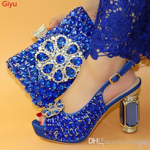 mavi Ayakkabı ve Çanta Eşleşen Set Afrika Ayakkabı ve Çanta Eşleşen İtalyan Eşleşen Ayakkabı ve Çantalar ladyPartys! LO1-27
