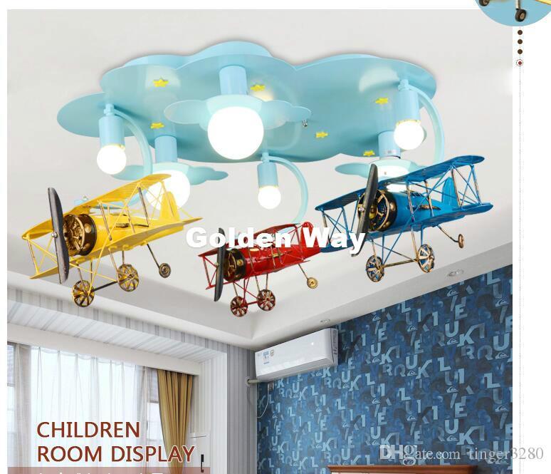 Frete grátis Crianças Luzes Crianças lâmpada do teto Avião Projeto Decora Quarto Luz E27 110V 220V controle remoto incluído