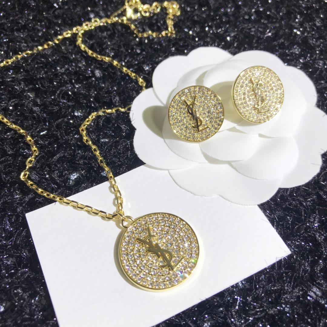 moda europea y americana nueva pendiente de diamante completo conjunto de collar