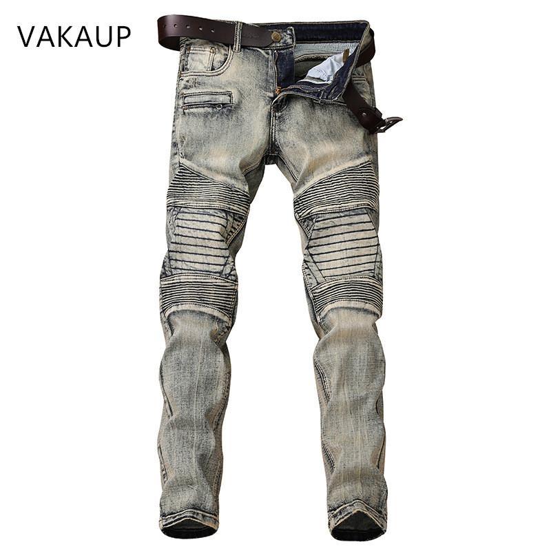 2020 Hip Hop moda Remendo Homens Retro Jeans joelho Rap Buraco Zipped Biker Jeans homens soltos Magro destruído Rasgado Ripped Denim Man