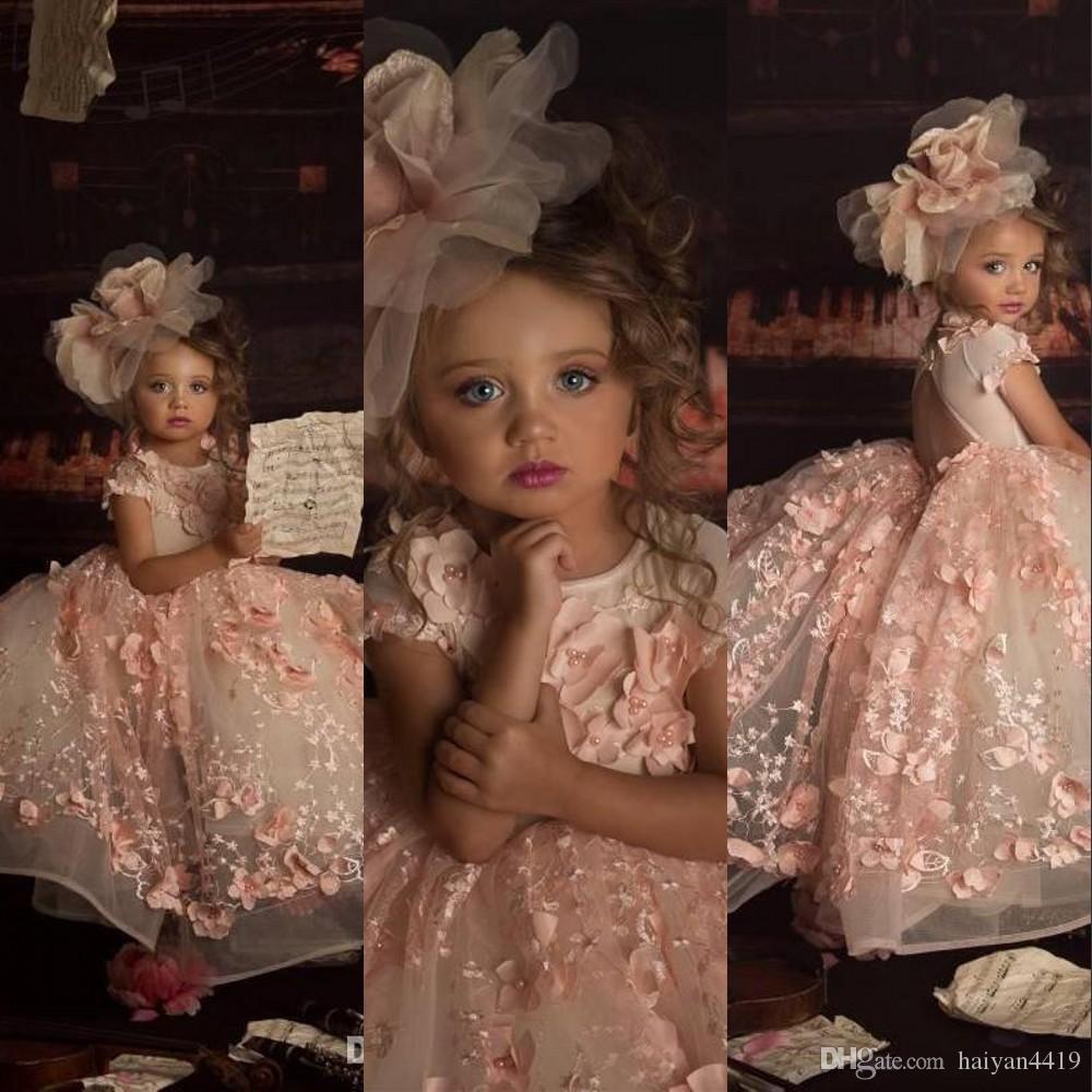 새로운 귀여운 핑크 사랑스러운 공주 꽃 소녀 드레스 보석 목 3D 아플리케 레이스 꽃 파란색 반팔 어린이 생일 소녀 선발 대회 가운