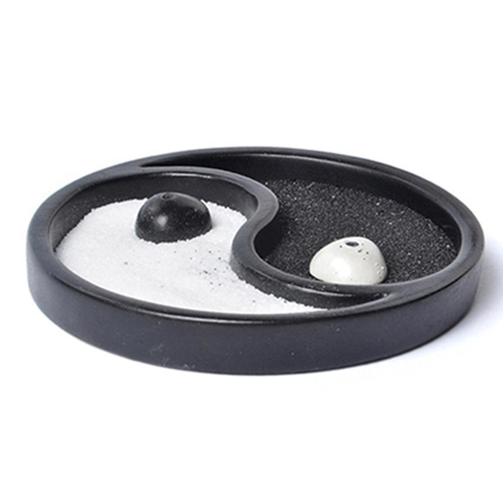 9.6cm Dia Zen Small Garden Mini Taiji Yin Yang Tabletop Ornament Sand Tray