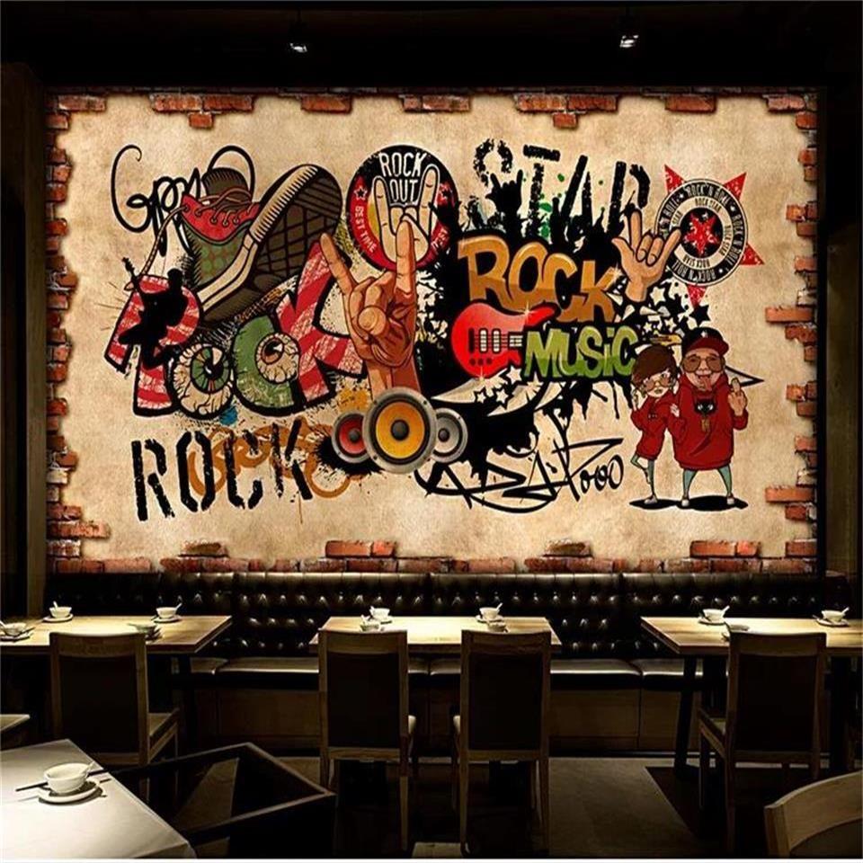 formato personalizzato 3d foto wallpaper soggiorno murale Muro di mattoni Graffiti Rock Hip KTV Music Bar sfondo muro carta da parati non tessuto wall sticker