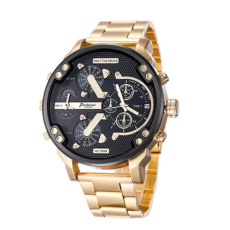 2019Luxury Relojes Hombres Dial de acero inoxidable reloj de la marca de tiempo de la correa de doble calendario de la moda del reloj de cuarzo Hombre Mujer militar de pulsera Gi