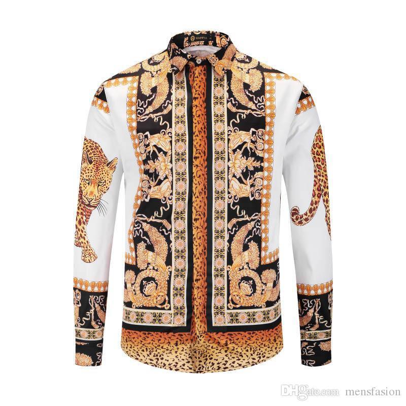 2019 nuevos hombres camisas casuales Medusa oro estampado floral para hombre camisa de vestir patrones Slim Fit camisas hombres moda negocios camisas ropa