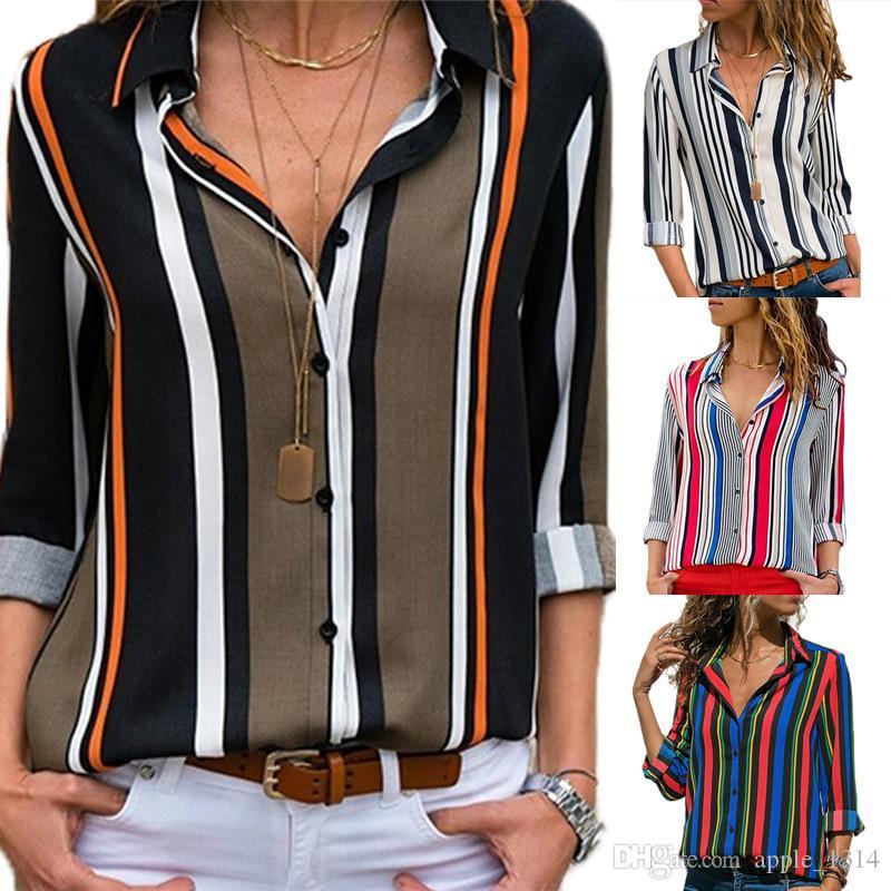 Полосатая блузка 2019 женщин Топы Блузки с длинными рукавами Дамы Офис шифон рубашка Полосатая блузка рубашка Плюс Размер Blusas