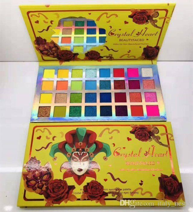 Hot Sale Crystal Heart / Fake Confess BEAUTY FACED FASHION 32 colors eyeshadow palette crystal diamond eye shadow makes your eyes dreamy DHL