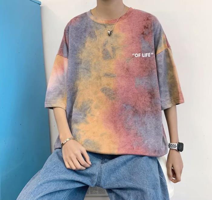 Tie Dye Colorful Mens magliette Lettera Stampa moda popolare maschio freddo T Shirt Uomo sportivo Relaxed Top