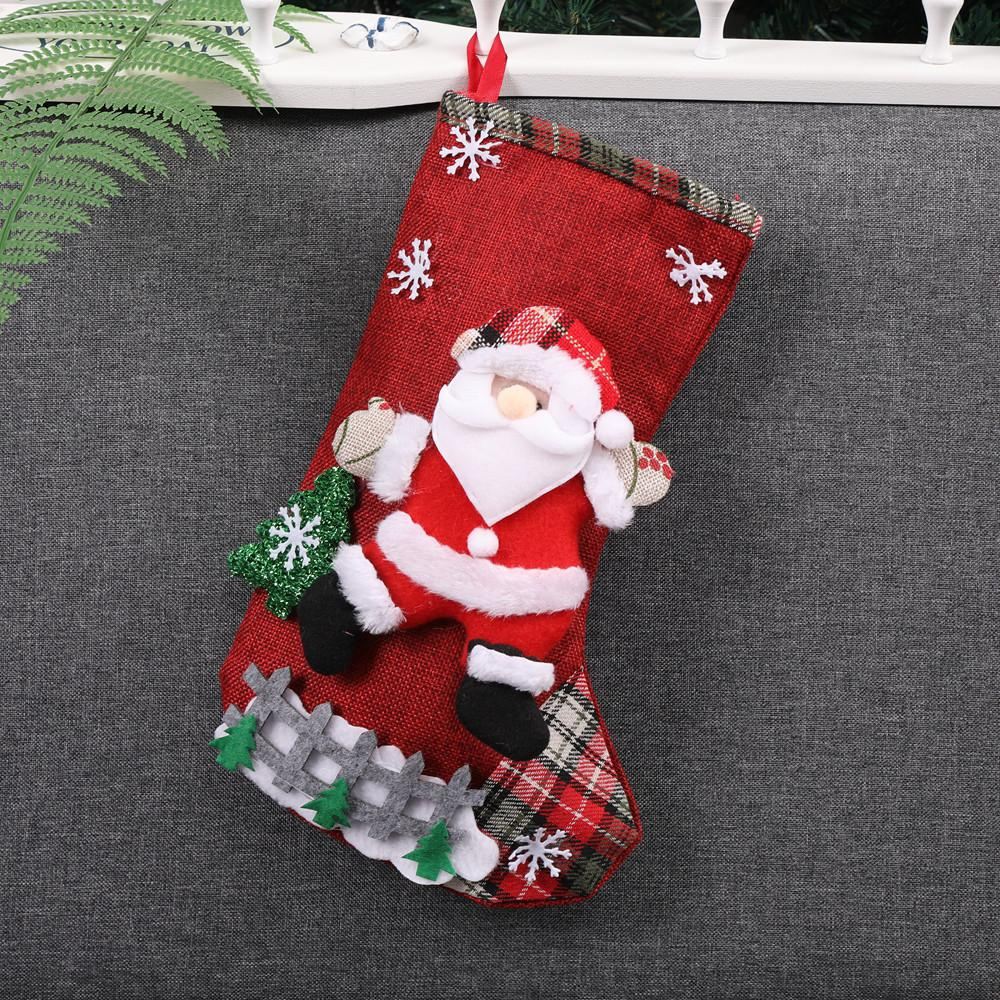 Christmas Xmas Tree Hanging Party Tree Decor Santa Stocking Sock Gift Candy Bags Lovely Gift Bag For Children Fireplace Tree#50