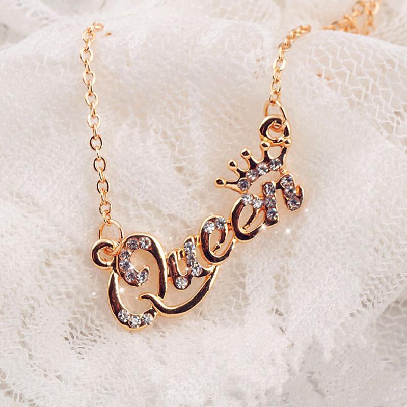 Amerikan, Avrupa Moda Gümüş Altın Elmas Kolye Kadınlar Grils Kristal Taç Kraliçe Mektupları Salkım Toptan Takı