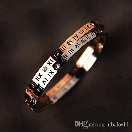 Pay4U Free hot Fashion titânio steel ladies bracelete jóias bela versão estreita da numeração romana fivela de diamante bracelete feminina