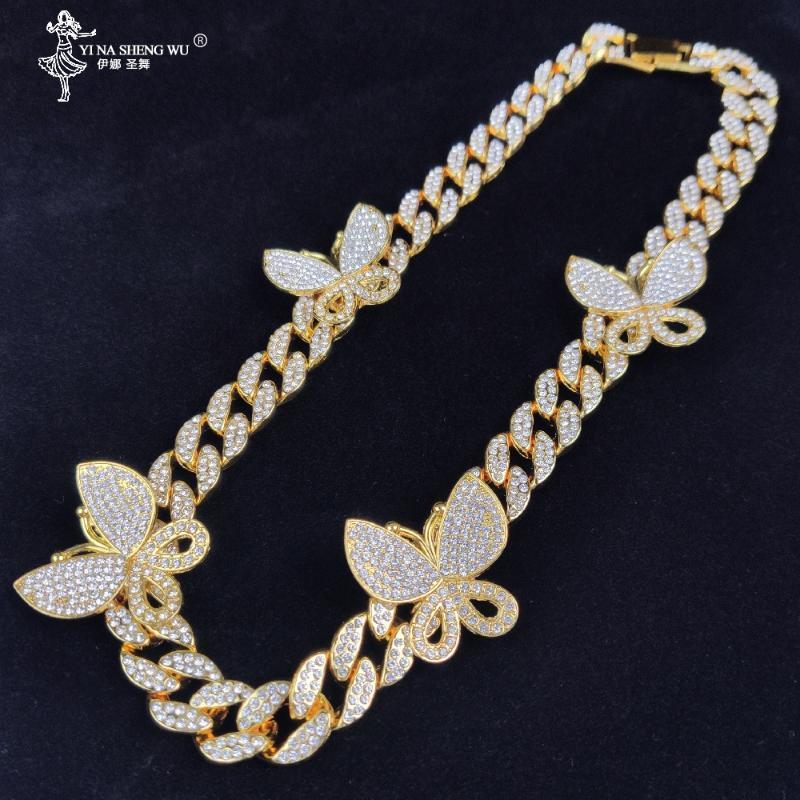 مثلج خارج بلينغ CZ ميامي الكوبية ربط سلسلة سحر فراشة قلادة قلادة الهيب هوب ذهبية فضية اللون والمجوهرات القلائد للنساء