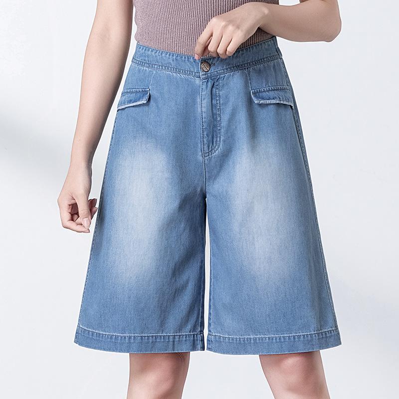 de 2020, o novo mulheres han edição de lazer de moda mostram fina cintura fina wide-legged calças de brim shorts em cinco a 9605