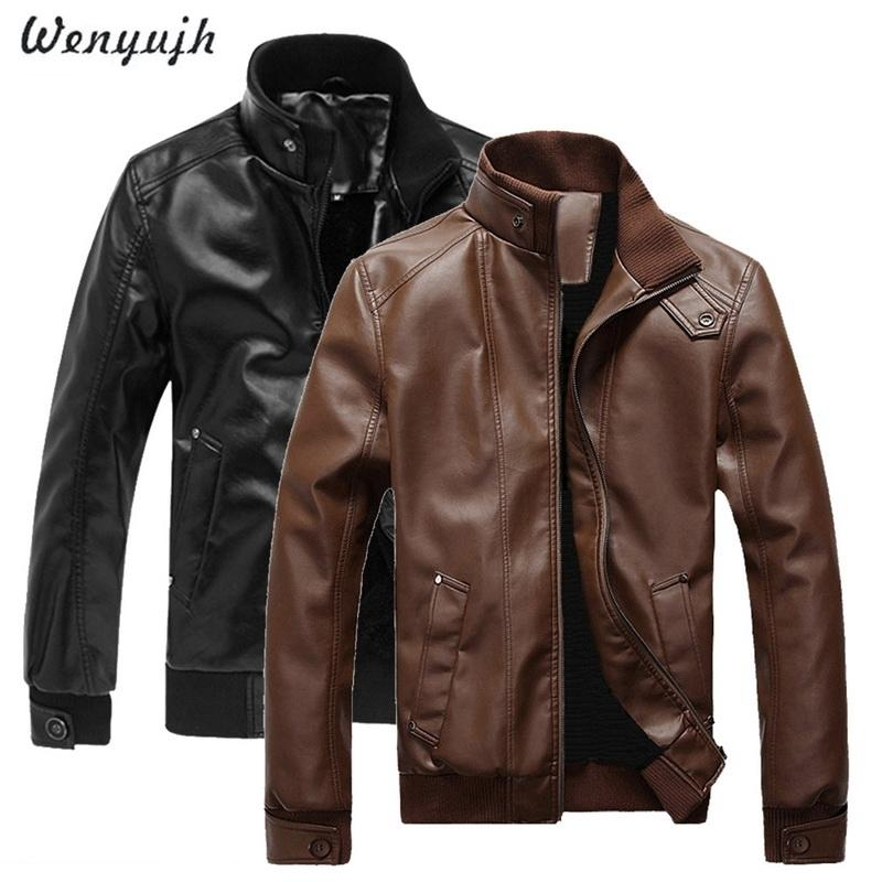 Wenyugh 2019 جديد أزياء الخريف الذكور سترة جلدية زائد الحجم 3xl الأسود براون رجل يقف طوق معاطف جلدية السائق جاكيتات SH190827