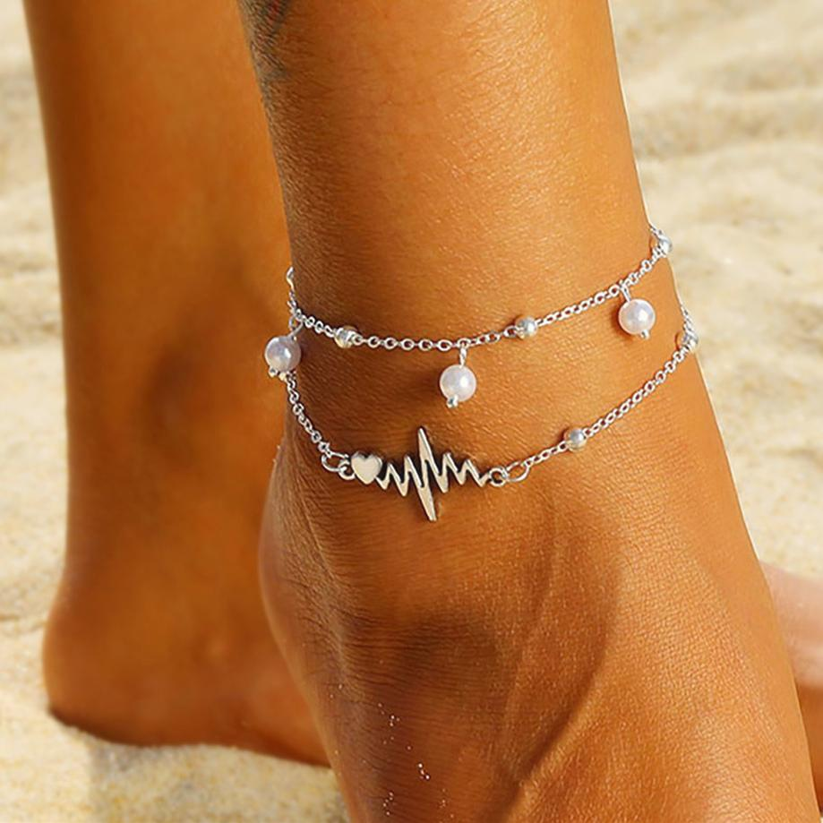 Fashion Silver Anklets Bracelet For Ankle Female Simulation Pearl Heart Beads Anklet Women Leg Chain Bohemian Wave Foot Jewelry