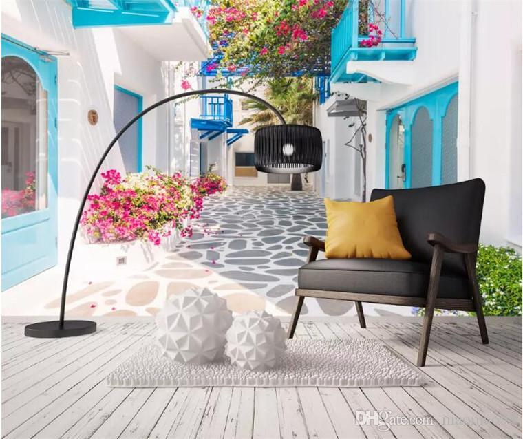 Griechisch Santorini Love Sea Moderne TV Kulisse Tapete Wand Gewohnheit 3D-Wand-Papier Weinlese-dekorative 3D Muarl Malerei