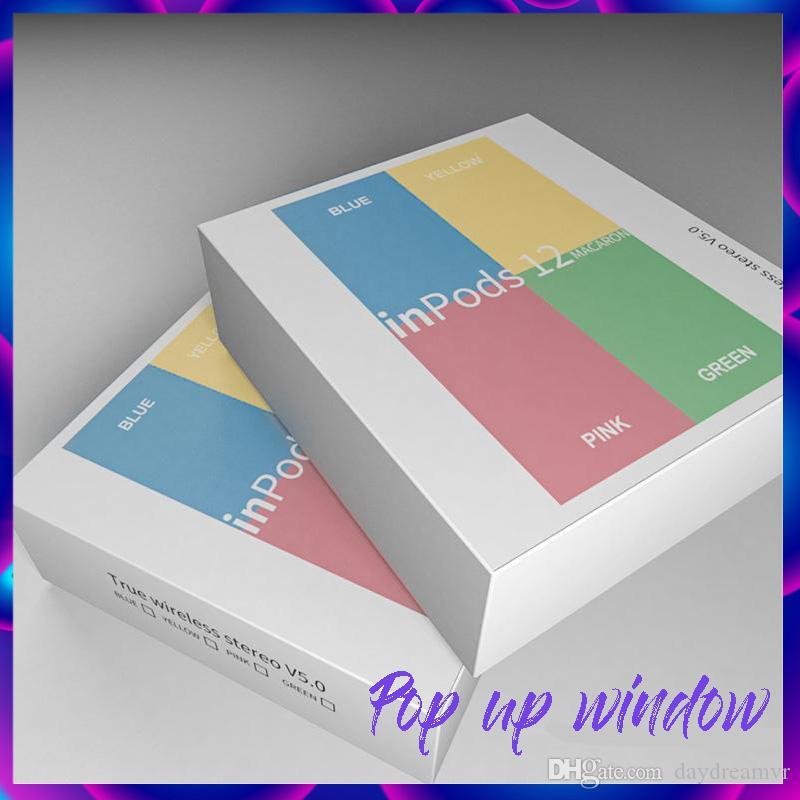 Inpods colorati 12 Macaron Bluetooth wireless TWS auricolari pop-up auricolari touch auricolari musica auricolare per iPhone X XR cellulare