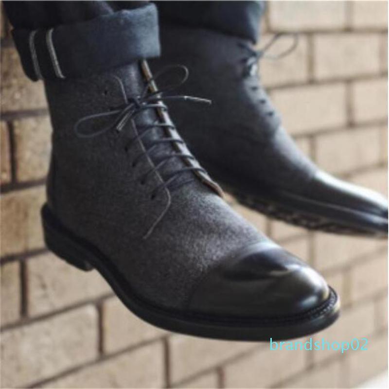 Новая мода роскошный дизайн натуральная кожа мужчины ботильоны высокого класса топ шнуровка мужчины платье обувь черный коричневый основные сапоги мужчины 48d05