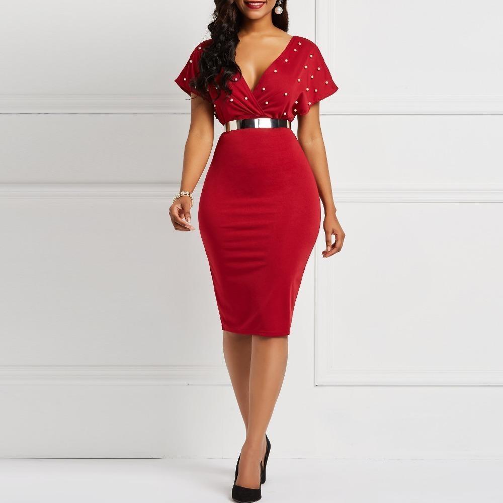 Le donne del progettista delle donne da abiti firmati Neck estate a vita alta perline Red Plus Size Stilisti partito del vestito Club Midi
