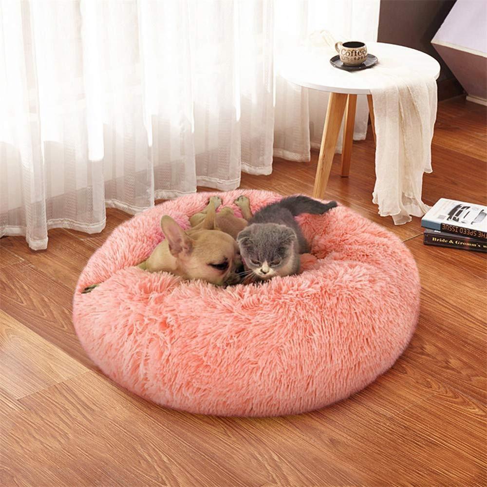 라운드 소프트 긴 봉제 고양이 소 중 개 고양이 둥지 겨울 따뜻한 슬리핑 쿠션 강아지 매트를위한 최고의 애완 동물 개 침대 온난화 하우스 자체를 침대