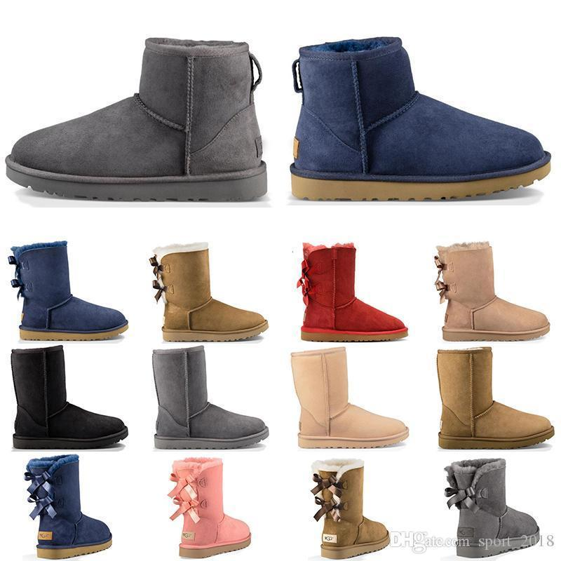 2019 neue Ankunft Luxus Designer Australien Frauen Winter Schneeschuhe Klassische Knöchel Knien Schuhe Kurzen Bogen Pelzstiefel Schwarz Kastanie Mode Größe