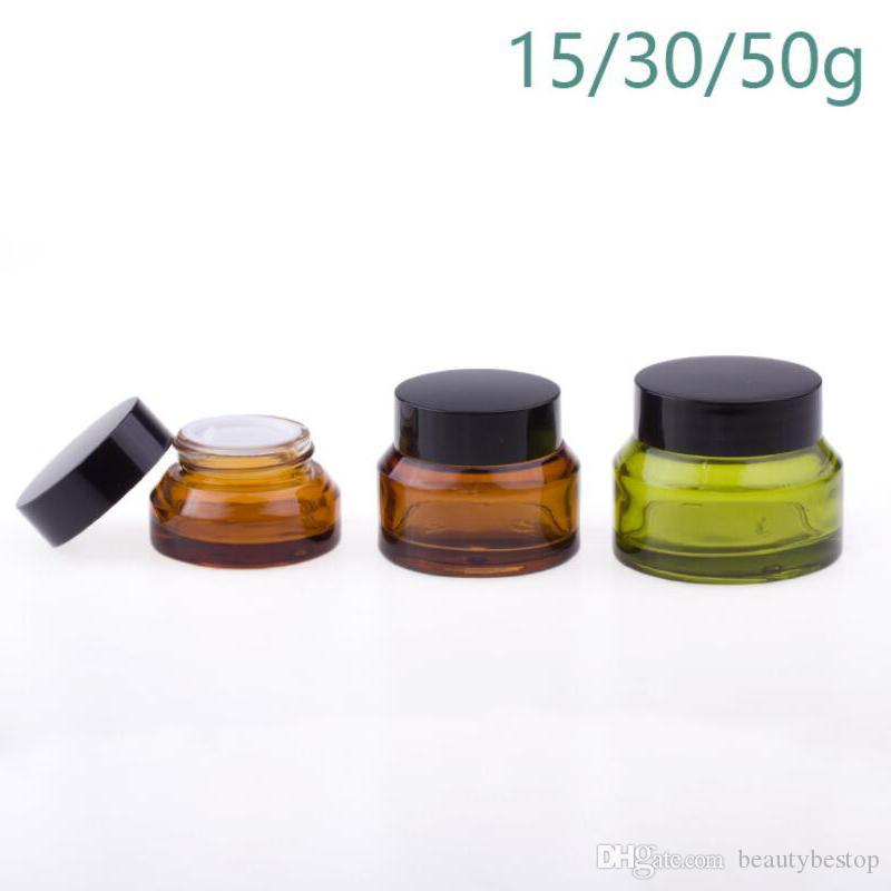 15g 30g 50g Ambre Vert Pot en verre contenants cosmétiques crème Lotion Bouteilles Pots de maquillage voyage avec Couvercles noir cas
