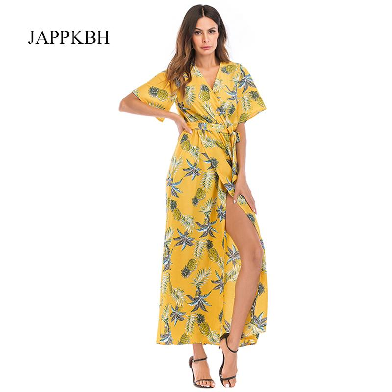 JAPPKBH Sexy Otoño Verano Vestido Largo de Las Mujeres de Impresión Casual Floral Deep V Vestidos de Tenedor Alto Elegante Vintage Boho Beach vestido de fiesta