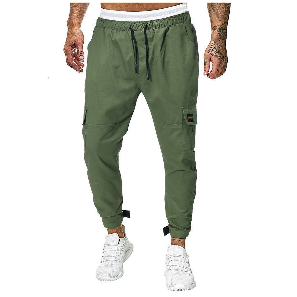 Homens Joggers Sweatpants dos homens JoggerTrouser Homens emenda Pure Macacões Casual Cor bolso Esporte Trabalho calças Casual Pants M-3XL
