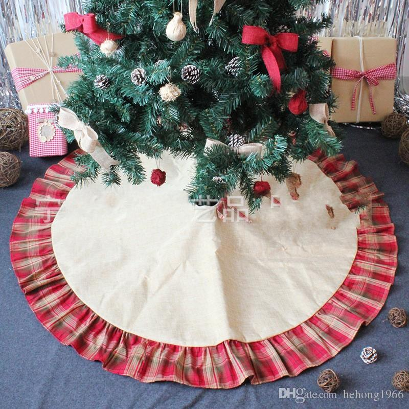 Arbre de Noël Jupes bowknot rouge Treillis Patchwork Tapis Lin Ornement Mat Festival de fournitures Décoration 26 5zt hh