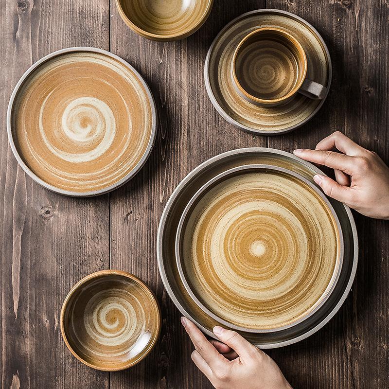 1PCS japonesa grueso de vajilla de cerámica filete redondo retro Bandeja Plato de Arroz placa plana Platos Vajilla Sushi bandeja para tazas de café
