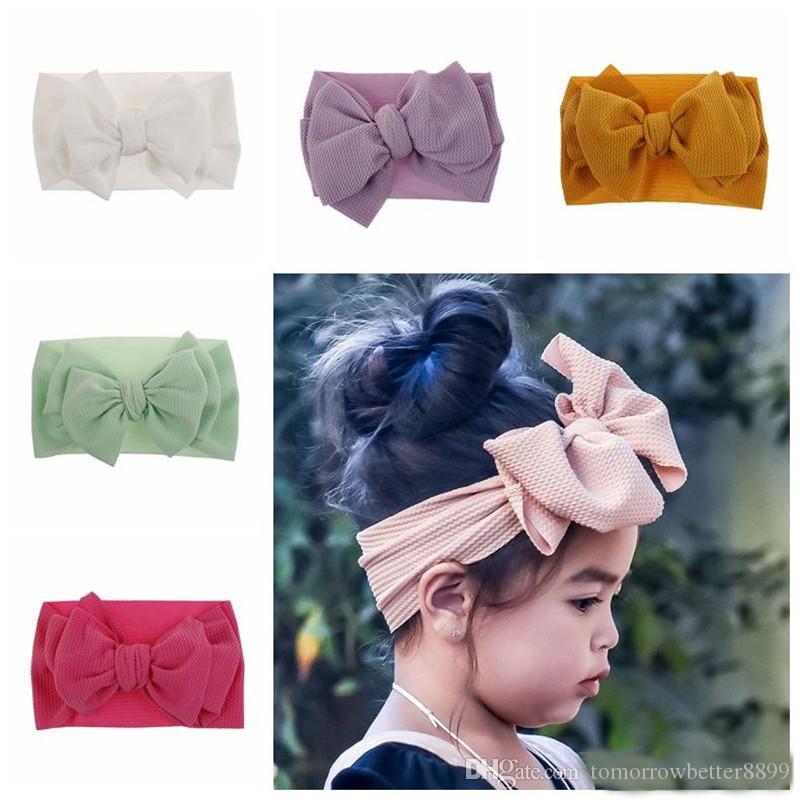 Seg 15 Los colores de moda de los bebés grandes vendas del arco elástico del Bowknot hairbands bandas para la cabeza headdress niños recién nacidos la cabeza del turbante Wraps