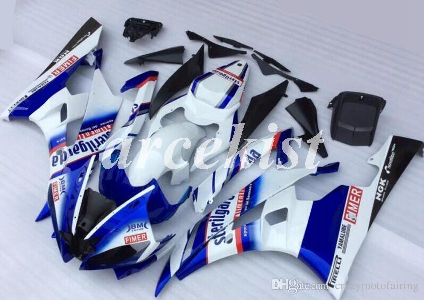 Новый ABS Инъекция мотоциклов обтекатели комплекты Подходит для YAMAHA YZF-R6 2006 2007 06 07 R6 Пользовательские Голубой Белый Глянец