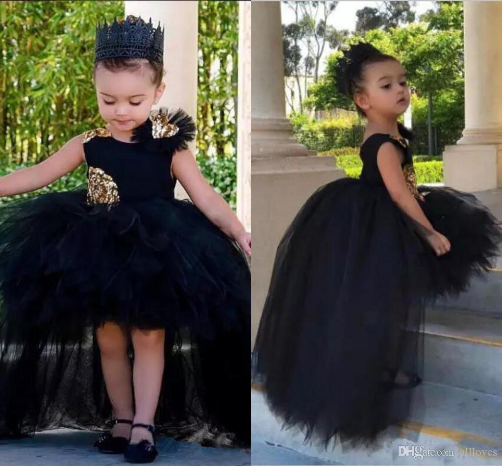 Abiti da ballo principessa Hi-lo neri su misura Paillettes dorate Gonna di tulle gonfio di lusso Abito da spettacolo per bambina Abiti da ragazza di fiori AL3054