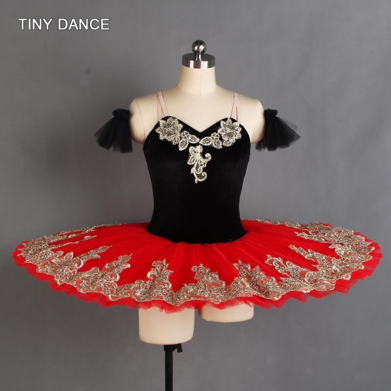 Black/Red Professional Ballet Dance Tutu Stretch Velvet Bodice with Gold Trim 7 Layers Pleated Tulle Pancake Tutu BLL404