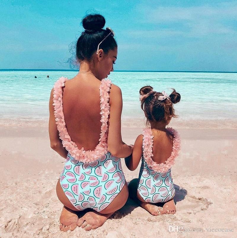 Vieeoease 2019 Yeni Yürüyor bebek Bebek Kız Karpuz Mayo Tek parça Çiçek Mayo Yüzme Kostüm Yaz Sevimli Bikini CC-470