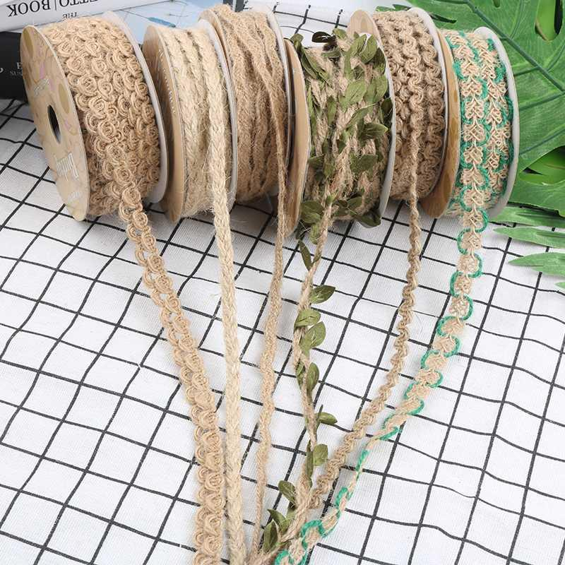 10M natural de yute guita de la cuerda de Hesse tocado tocado de la guirnalda de la cinta de lino decoración del hogar del cordón de DIY arte hecho a mano
