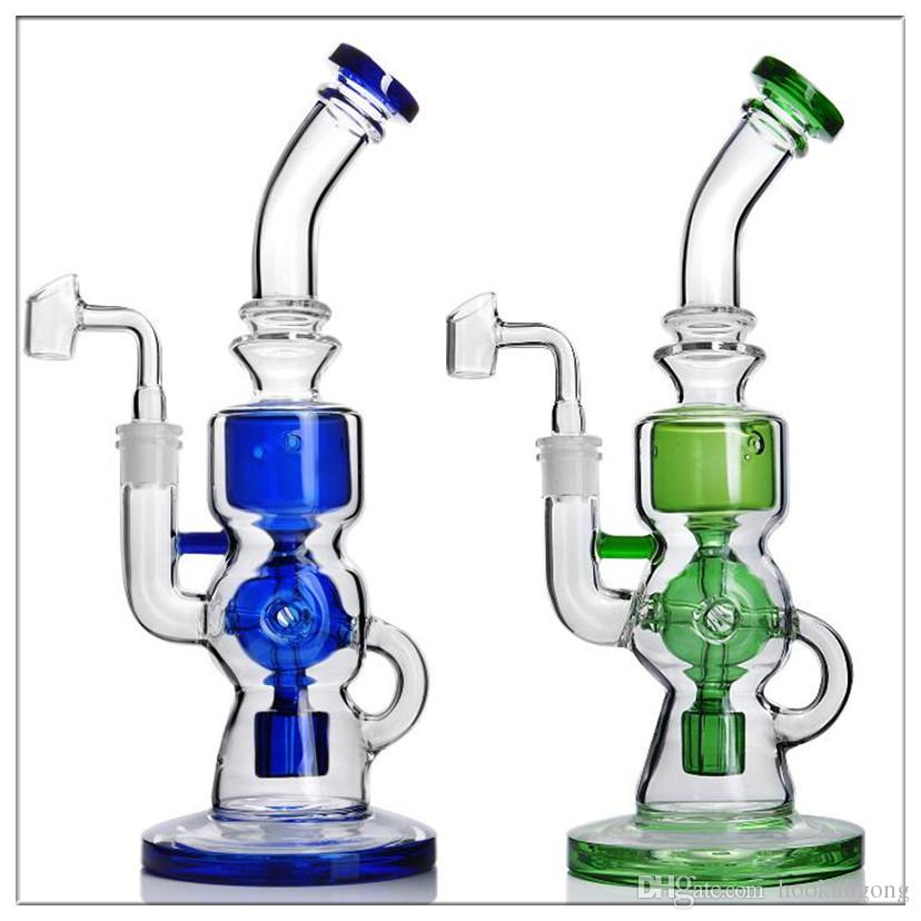 Latest built-in reflow device speaker interface is divided into blue and green two color water hooks. height is 11 inches.glass bongs