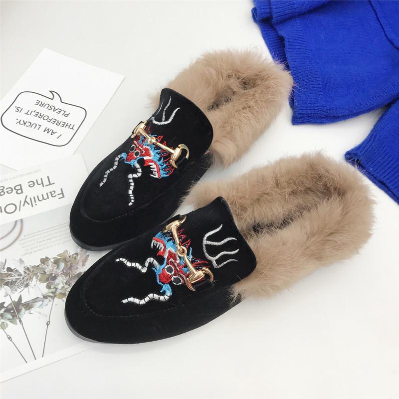 Pretty2019 bordado bebé Ban Tuo zapatos de mujer cabeza de círculo baja con deslizador fresco