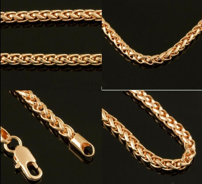 """3 milímetros 18K Gold Filled Cadeia Womens Spiga Mens - New 24"""" Colar Unisex"""