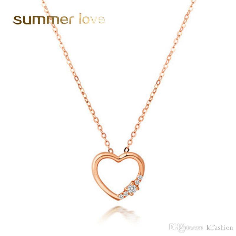 CZ Hollow Heart Colgantes Collar para mujer Moda Incrustaciones de cobre Circón 18K Collar de cadena de oro rosa Joyería de moda para bodas